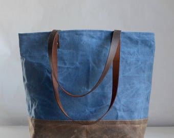 Smoked Blue Waxed Canvas Tote Bag with Leather Straps - Ready to Ship