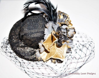 Black and Gold Lace Feather Top Hat Fascinator