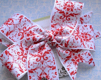 White with Red Damask XL Diva Bow