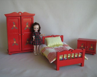 "RESERVED- Vintage NOROK Wooden Flowered Bedroom Set in Play Scale For 6"" to 9"" Dolls"