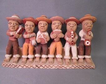 Terra Cotta Folk Art Figurine - Six Piece Band - Hand Crafted in Peru