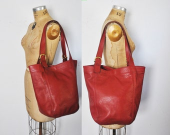 HUGE Coach Soho Market Duffel Tote Bag / distressed red leather