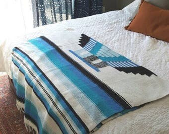 "Mexican Southwestern Saddle Blanket / 1980s tribal print / 78"" x 48"""