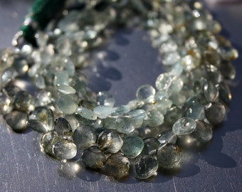 "Organic Look...Deep Sea Moss Green Aquamarine Faceted 7-8mm Heart Briolette Drop Beads 4"" strand  25 beads"