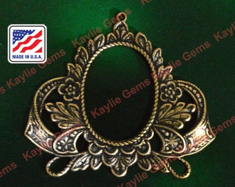 2 Art Nouveau Filigree Stamping Frame Cameo Base Connector Finding Baroque Victorian Style Raw Brass - G6105RB
