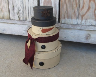 Primitive Stackable Snowman Set of 4 Round Stacking Boxes with Scarf Color Options GCC04274