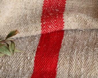 B 829: grainsack,  antique linen; FRENCH RED;리넨, lin,  pillow benchcushion; 47.24long;  wedding decoration;