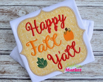 Machine Embroidery Design Embroidery Happy Fall Frame INSTANT DOWNLOAD