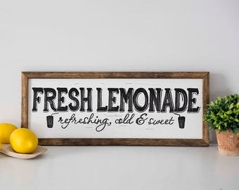 """FRESH LEMONADE Hand Painted Sign, Wooden With Trim, 18""""x7"""" Vintage Inspired, Blogger, Gallery Wall, Kitchen Decor"""