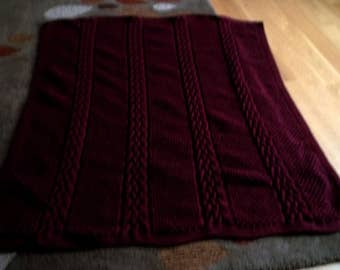 Knit Afghan in Cable and Pebbles in a Burgundy color, Throw, Blanket
