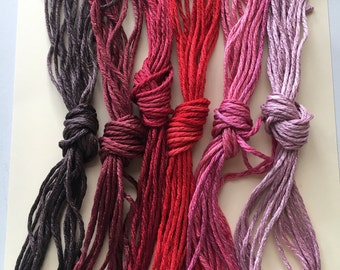 Limited Edition Ruby Wishes Roses Pack. The ThreadGatherer. Hand-Dyed Silk.Hand Dyed Fibers.Silk Floss. Embroidery Sampler Pack. Red Floss.