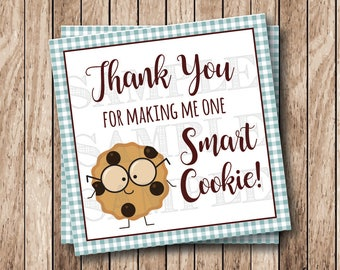 Instant Download Printable One Smart Cookie Tags, Thank You For Making Me One Smart Cookie Tags, Printable Thank You Tags, Blue Gingham