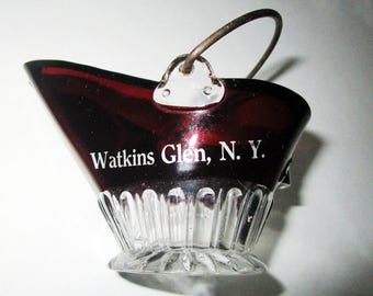 Ruby Stain Glass Watkins Glen Souvenir Coal Scuttle Toothpick Novelty