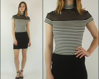 Vintage 90s Cache Bandage Mesh Black and white Striped Party Bodycon Mini dress XXS/XS