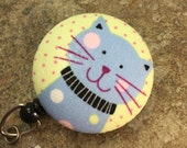 Name badge fabric covered badge reels pink kitty design