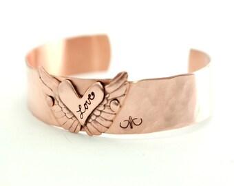 Heart Cuff Bracelet, Angel Wing Bracelet, Copper Cuff, Hammered Cuff, Love Cuff, Valentines Bracelet, Anniversary Cuff, Artisan Cuff