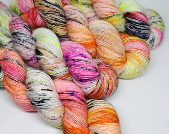 Hand Dyed  Speckled Sock Yarn - SW Sock 80/20 - Superwash Merino Nylon - 400 yards  - One of a Kind - Surprise Party - It's in a Sin