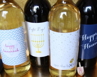 Hanukkah Wine Label Set- Insta-print