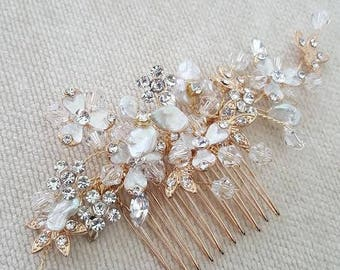Bridal Hair Comb, Pearl Wedding Comb, Gold Pearl Comb, Wedding Hair Comb