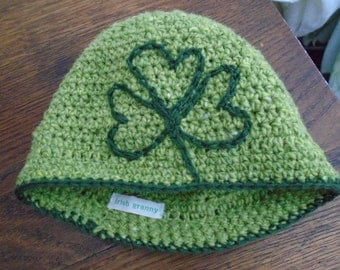 BIG SHAMROCK crochet hat cap toque by irish granny pure wool with silk UNIQUE