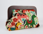 Wooden frame clutch bag - Ponies in red - Trip purse / Japanese fabric / Linen Canvas / Horses / Yellow brown green red pink turquoise blue