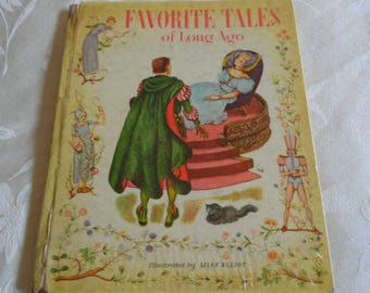 Favorite Tales Of Long Ago Adapted by Leah Gale Illustrated Miss Elliott Hardcover 1943
