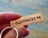 Custom Hand Stamped Keychain,Hammered Copper,Personalized Gift,Wording of Choice,Customized,7th Anniversary Gift,Copper Gift,Custom Keychain