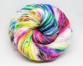 """Glam Rock Sparkle Sock Yarn - """"Bitchin!"""" -  Handpainted Superwash Merino - 438 Yards"""