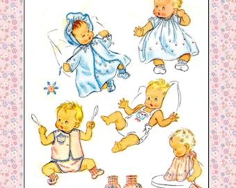 Vintage 1952-BABY LAYETTE COLLECTION-Sewing Pattern-Transfer-Embroidery-Dress-Kimono-Bonnet-Sun Suit-Diaper Shirt-Booties-Panties-Bib-Rare