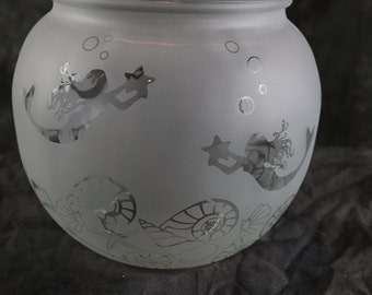 Mermaid Seahorse and Seashell Etched fishbowl style Candle holder or Vase