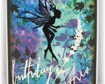 Tip toe through the flowers - gorgeous Fairy handmade birthday card
