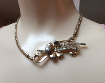 Vintage Victorian look flower chain necklace, brooch flower pendant with baguette rhinestones, plumeria look brooch style necklace