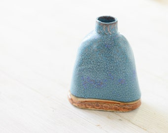 Warm Blue and Earth Toned Hand Built Ceramic Bud Vase