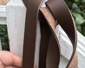 "Coffee Brown Leather Strap /strip Steampunk DIY belt blank 3/4"" wide. 60, 72, 80, 100 inch long, purse straps, belt- Super soft, pebbled"