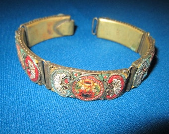 Antique Edwardian Beautiful Italian Micro Mosaic Link Bracelet