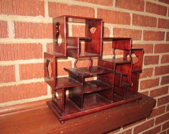 Vintage Mahogany Tiered Standing Display Cabinet for Miniature Collectibles