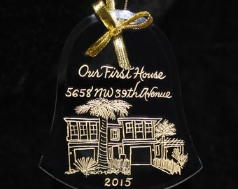 Housewarming Ornament First Christmas in New Home, Your Home Custom Engraved
