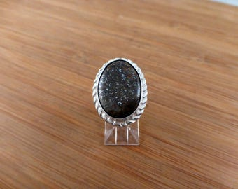 Beautiful NWA 869 Stone Meteorite Inlay Silver Ring. Out of this World