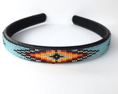 Headband - Navajo-Beaded - Light Turquoise Blue - Native American