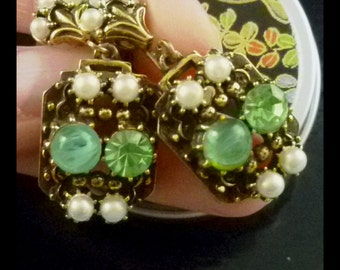 Collectible Vintage Florenza Jade, Peridot, and Pearl Earrings - Free U.S Shipping