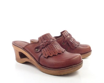 Leather Wooden Clogs Vintage 1970s Wood Platform Brown Qualicraft Women's size 8