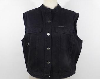 Jean vest Vintage 1990s Black Denim Harley Davidson Women's size XL