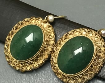Vintage Chinese dangle Earrings  .  Gold Gilt sterling silver . Spinach green Jade jadeite  . Fine Jewelry