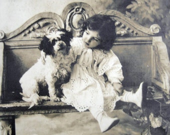 Antique girl with dog photo postcard, Antique terrier dog photo postcard, Antique scruffy dog and girl photo postcard, Antique dog photo