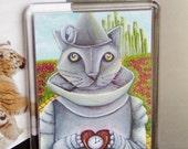 ON SALE Tin Man Cat Wizard of Oz, Emerald City, Yellow Brick Road, Cat Fridge Magnet