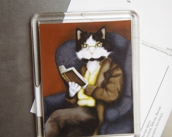 ON SALE Reading Cat Magnet, Dressed Tuxedo Cat Reading a Book, Fridge Magnet