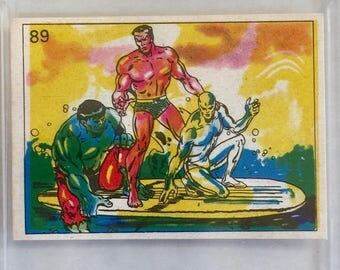 Graded 1981 Marvel Hulk Aquamna and Silver Surfer GMA 6.5 Sticker Card