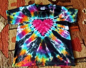 Youth Extra Small Tie Dye T-shirt - Cosmic Rainbow Heart - Ready to Ship