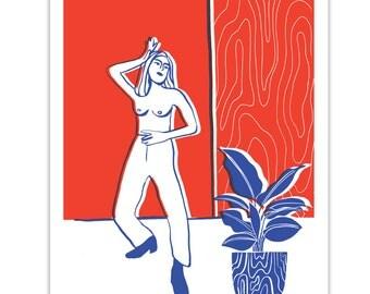 Patti // Nude // Botanical illustration // Botanical print // Colourful Illustration // Seventies // Retro // Mid Century