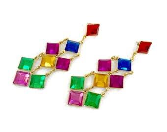 Rainbow Earrings, Jewel Tones, Rhinestone, Long Dangle, Vintage Earrings, Gold, Red, Green, Blue, Purple, Pierced, 1980s, Big, Large, Huge